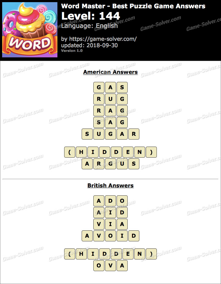 Word Master-Best Puzzle Game Level 144 Answers