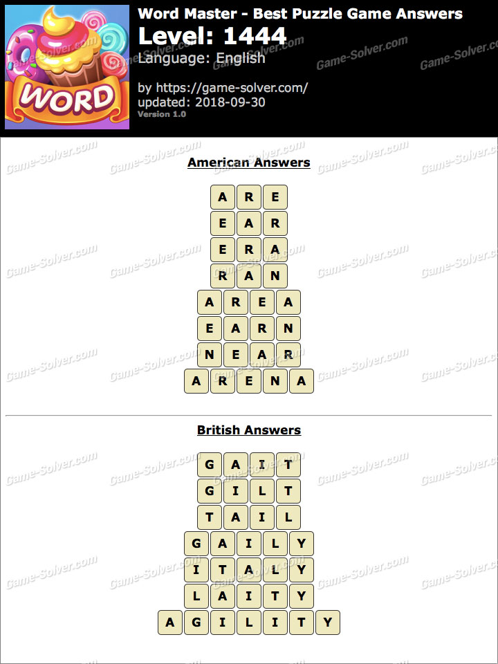 Word Master-Best Puzzle Game Level 1444 Answers