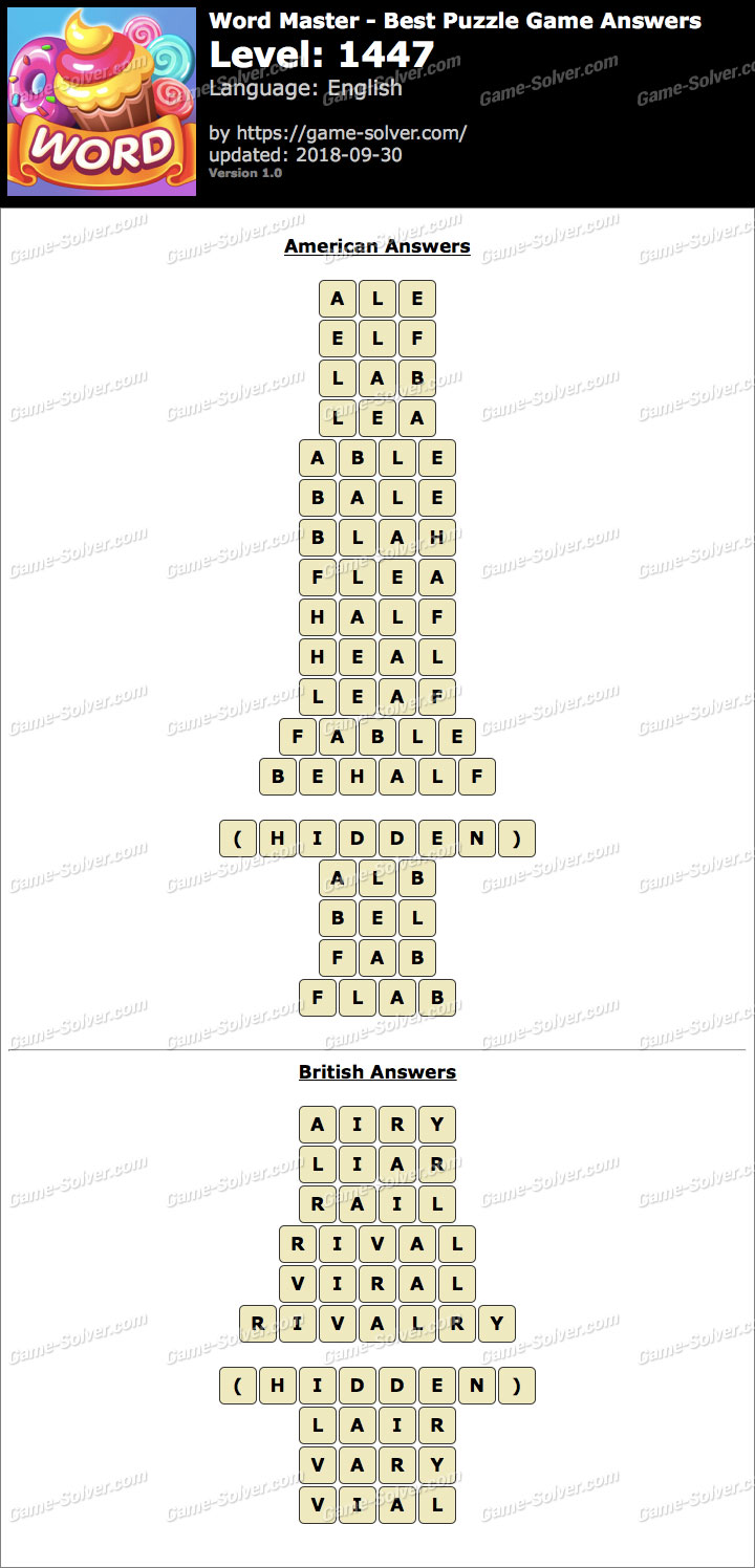 Word Master-Best Puzzle Game Level 1447 Answers