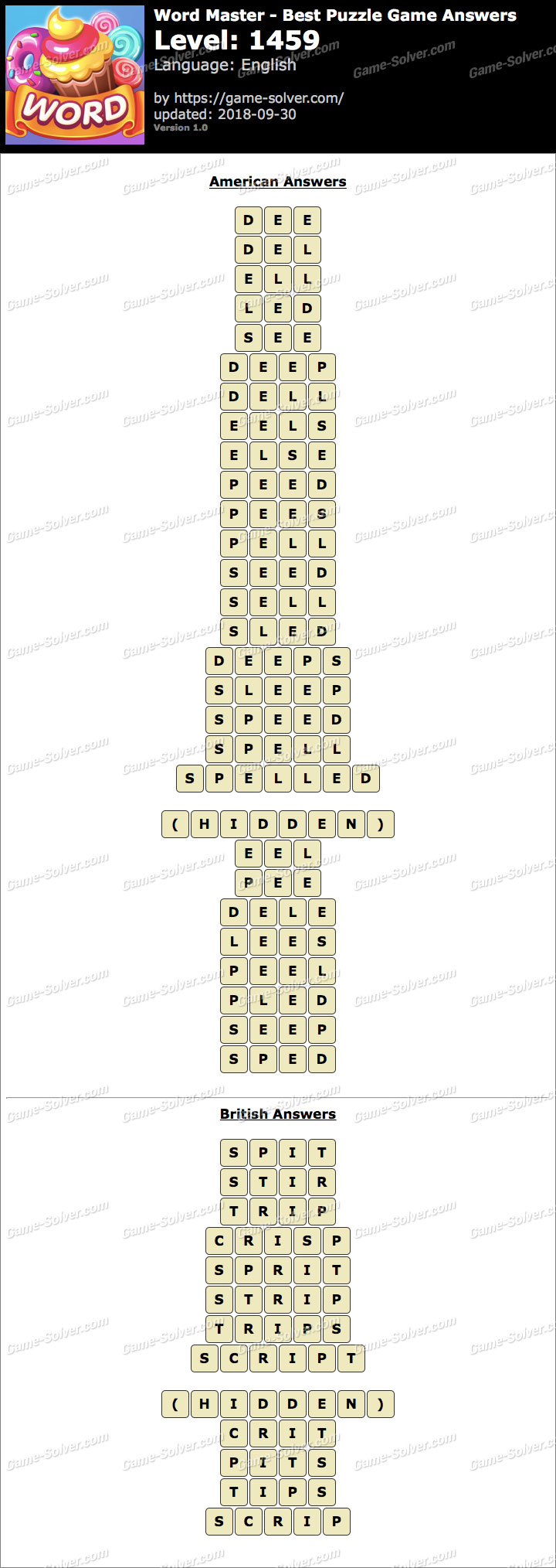 Word Master-Best Puzzle Game Level 1459 Answers