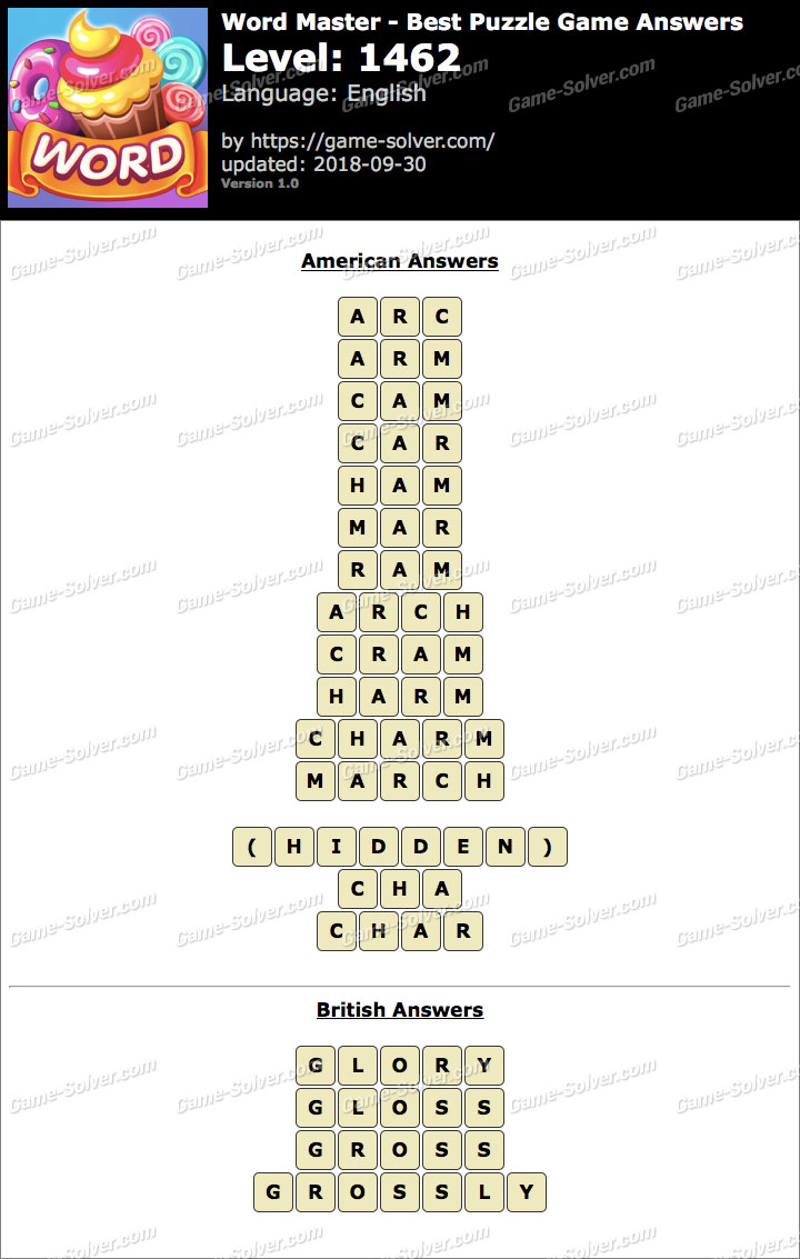 Word Master-Best Puzzle Game Level 1462 Answers