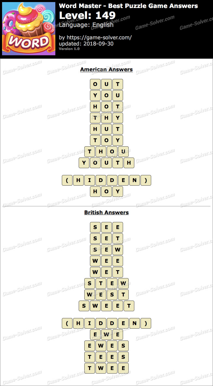 Word Master-Best Puzzle Game Level 149 Answers