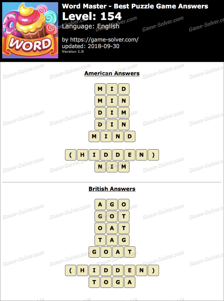 Word Master-Best Puzzle Game Level 154 Answers