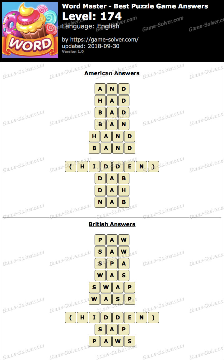 Word Master-Best Puzzle Game Level 174 Answers