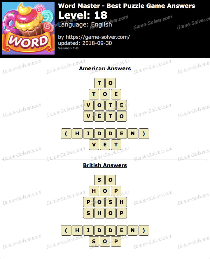 Word Master-Best Puzzle Game Level 18 Answers