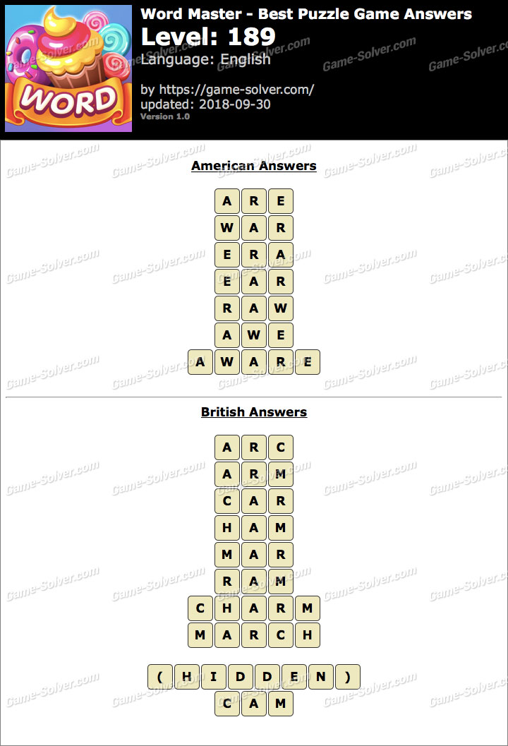 Word Master-Best Puzzle Game Level 189 Answers