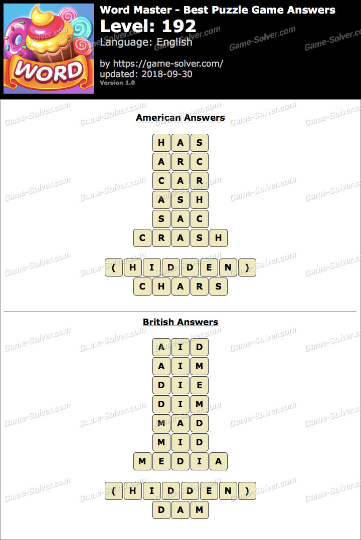 Word Master-Best Puzzle Game Level 192 Answers
