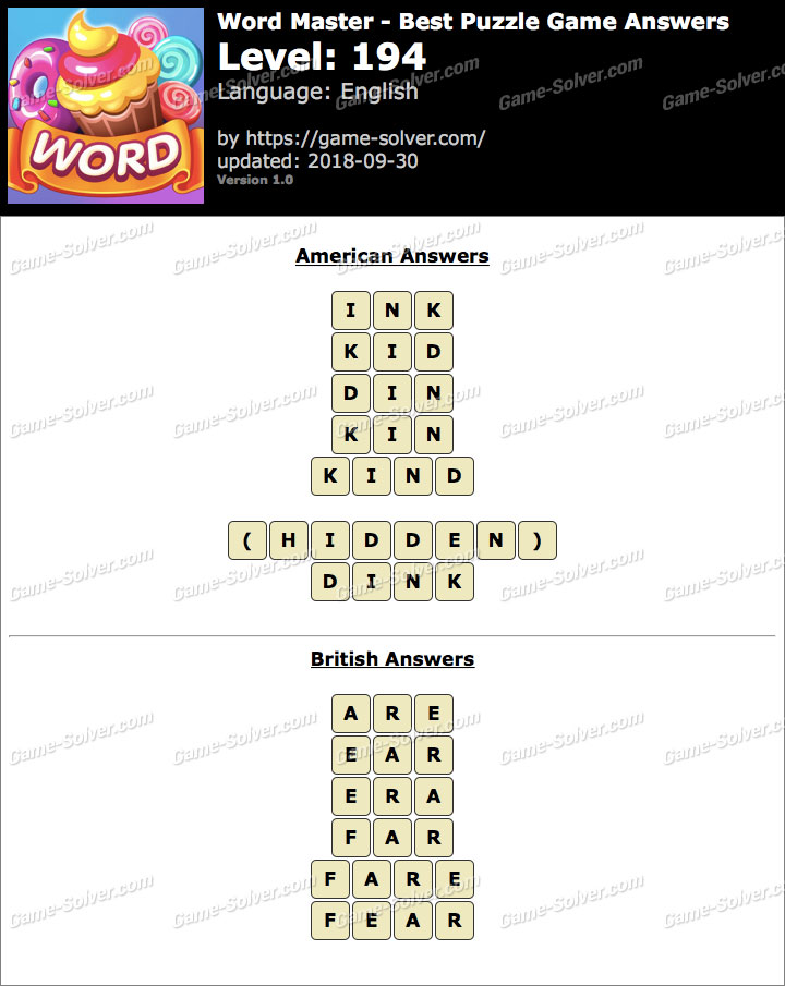 Word Master-Best Puzzle Game Level 194 Answers