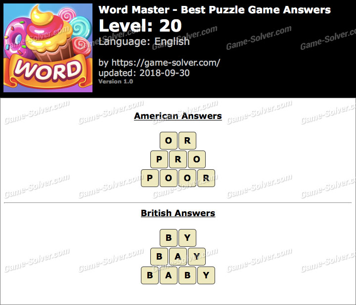 Word Master-Best Puzzle Game Level 20 Answers