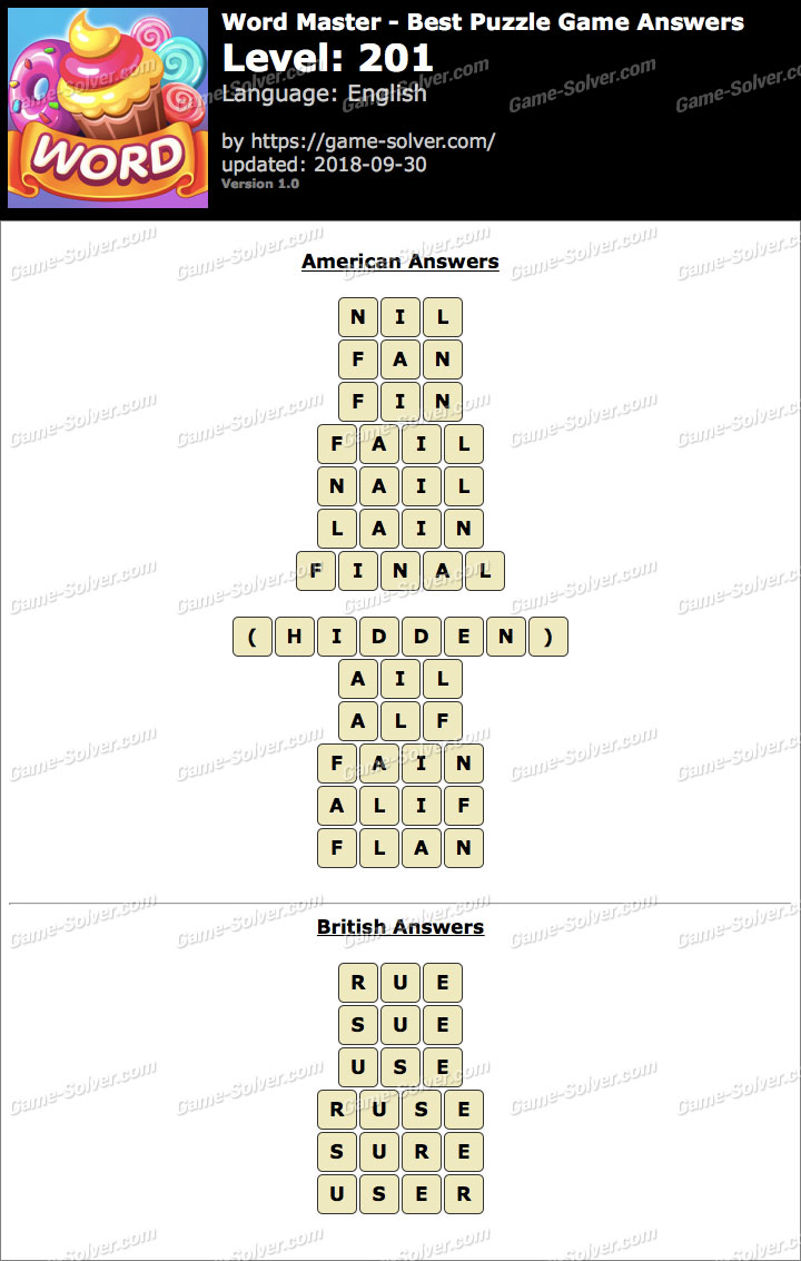 Word Master-Best Puzzle Game Level 201 Answers