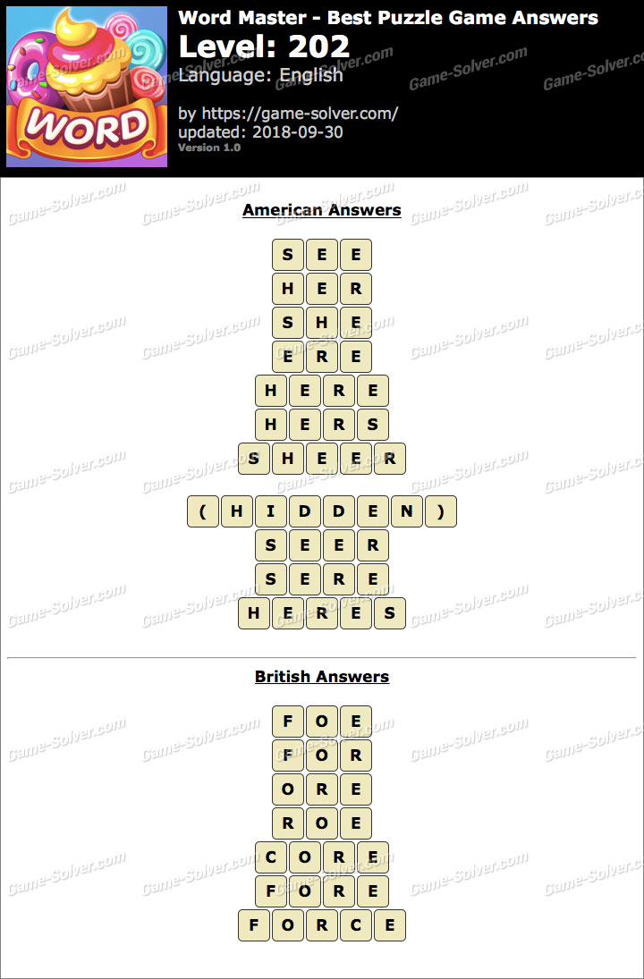 Word Master-Best Puzzle Game Level 202 Answers