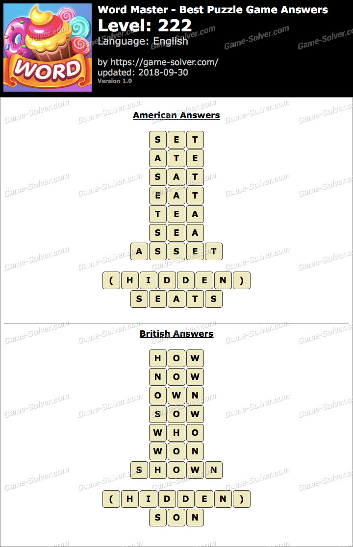 Word Master-Best Puzzle Game Level 222 Answers