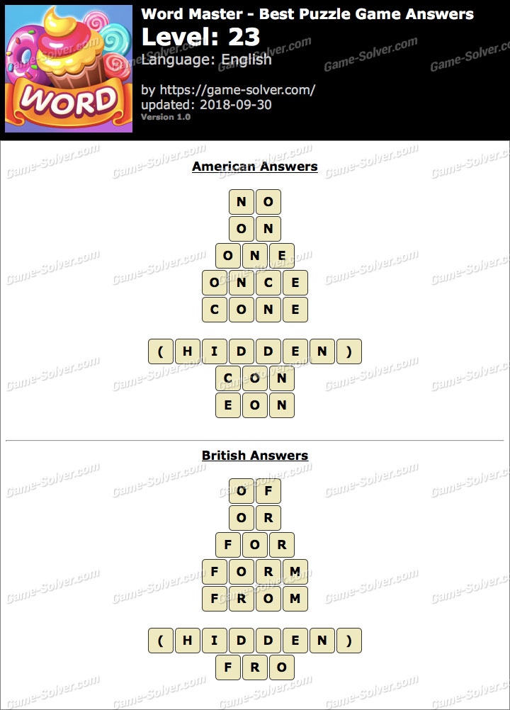 Word Master-Best Puzzle Game Level 23 Answers