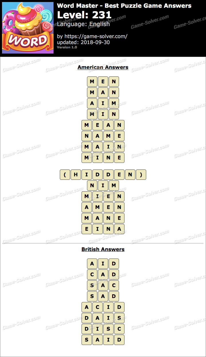 Word Master-Best Puzzle Game Level 231 Answers