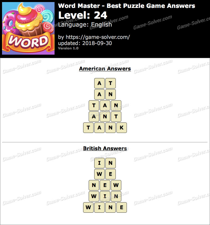 Word Master-Best Puzzle Game Level 24 Answers