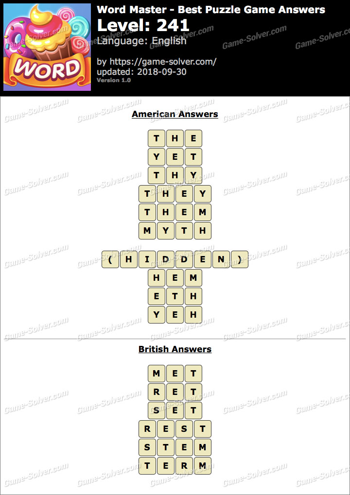 Word Master-Best Puzzle Game Level 241 Answers