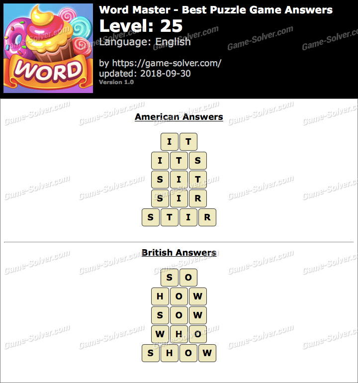 Word Master-Best Puzzle Game Level 25 Answers