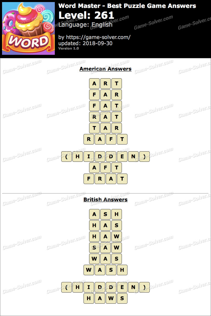 Word Master-Best Puzzle Game Level 261 Answers