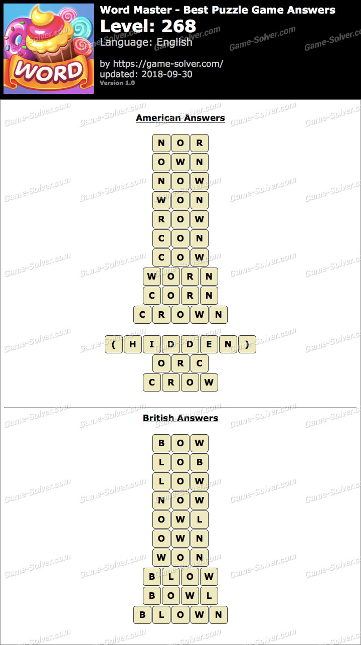 Word Master-Best Puzzle Game Level 268 Answers