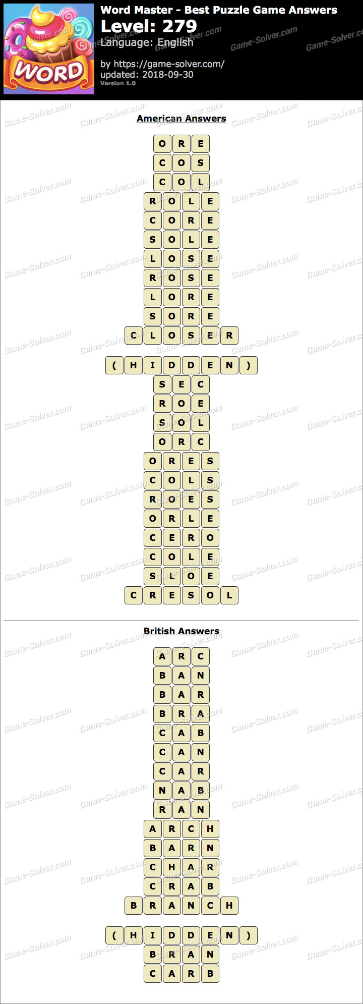 Word Master-Best Puzzle Game Level 279 Answers