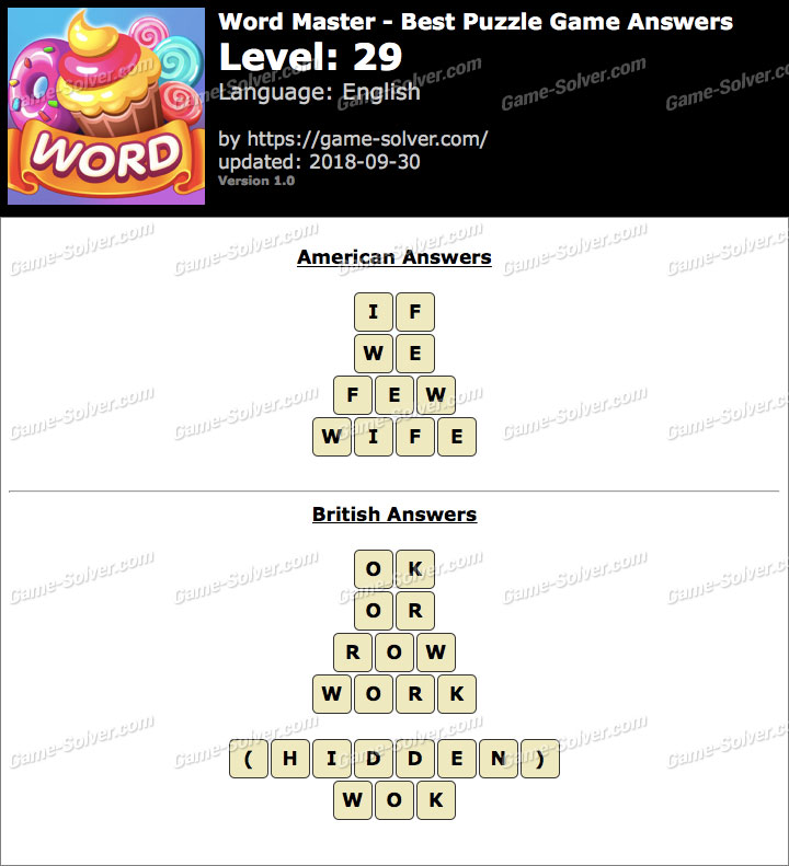 Word Master-Best Puzzle Game Level 29 Answers