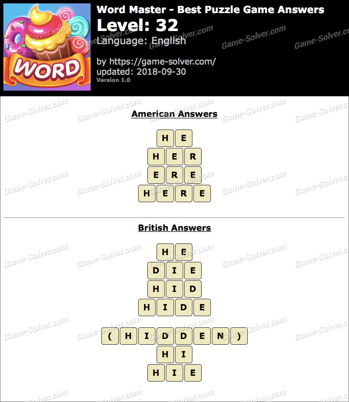 Word Master-Best Puzzle Game Level 32 Answers