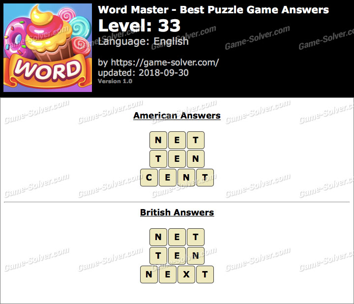 Word Master-Best Puzzle Game Level 33 Answers