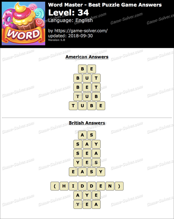 Word Master-Best Puzzle Game Level 34 Answers