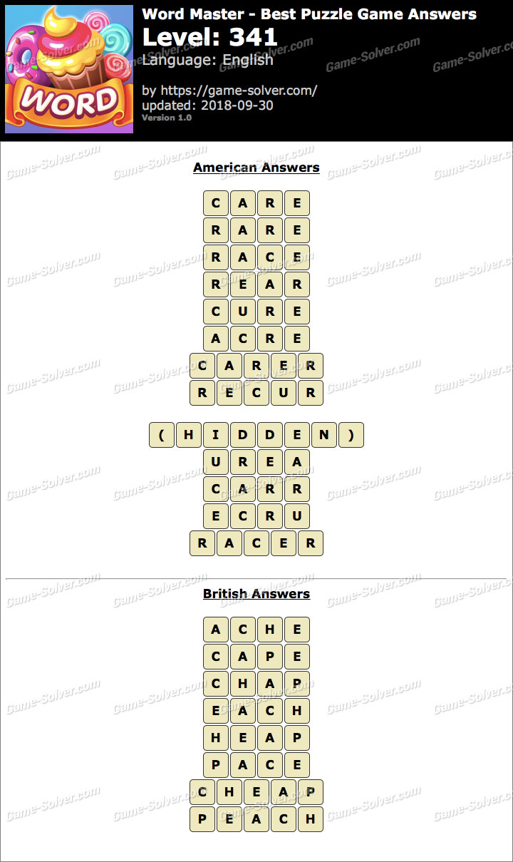 Word Master-Best Puzzle Game Level 341 Answers