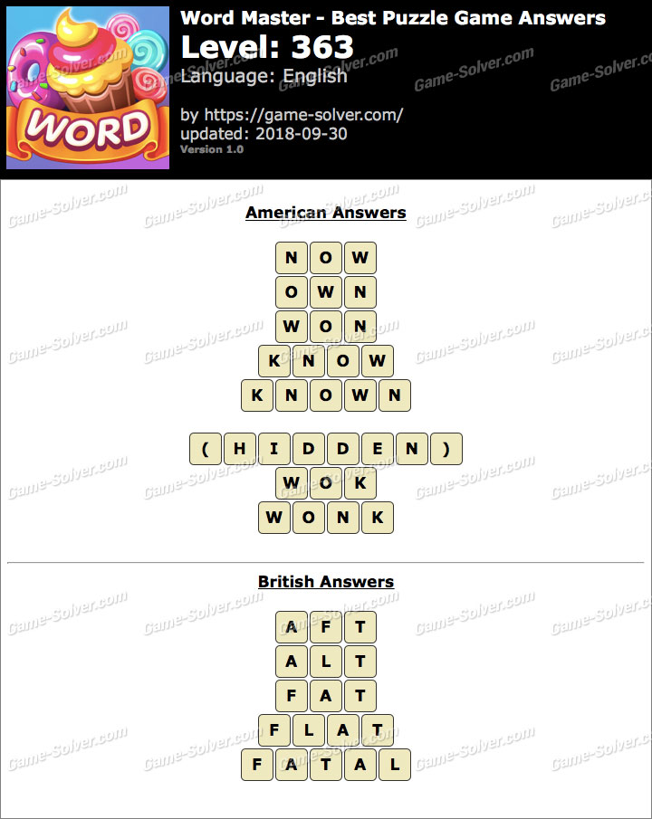 Word Master-Best Puzzle Game Level 363 Answers