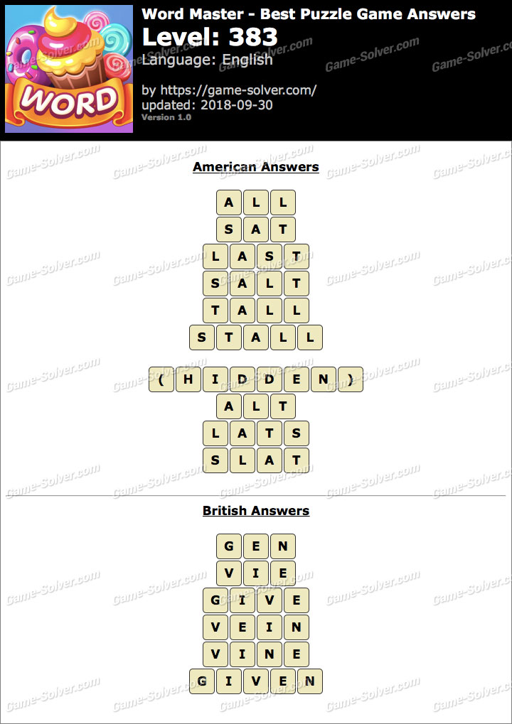 Word Master-Best Puzzle Game Level 383 Answers