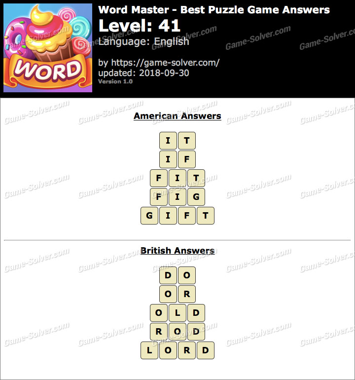 Word Master-Best Puzzle Game Level 41 Answers