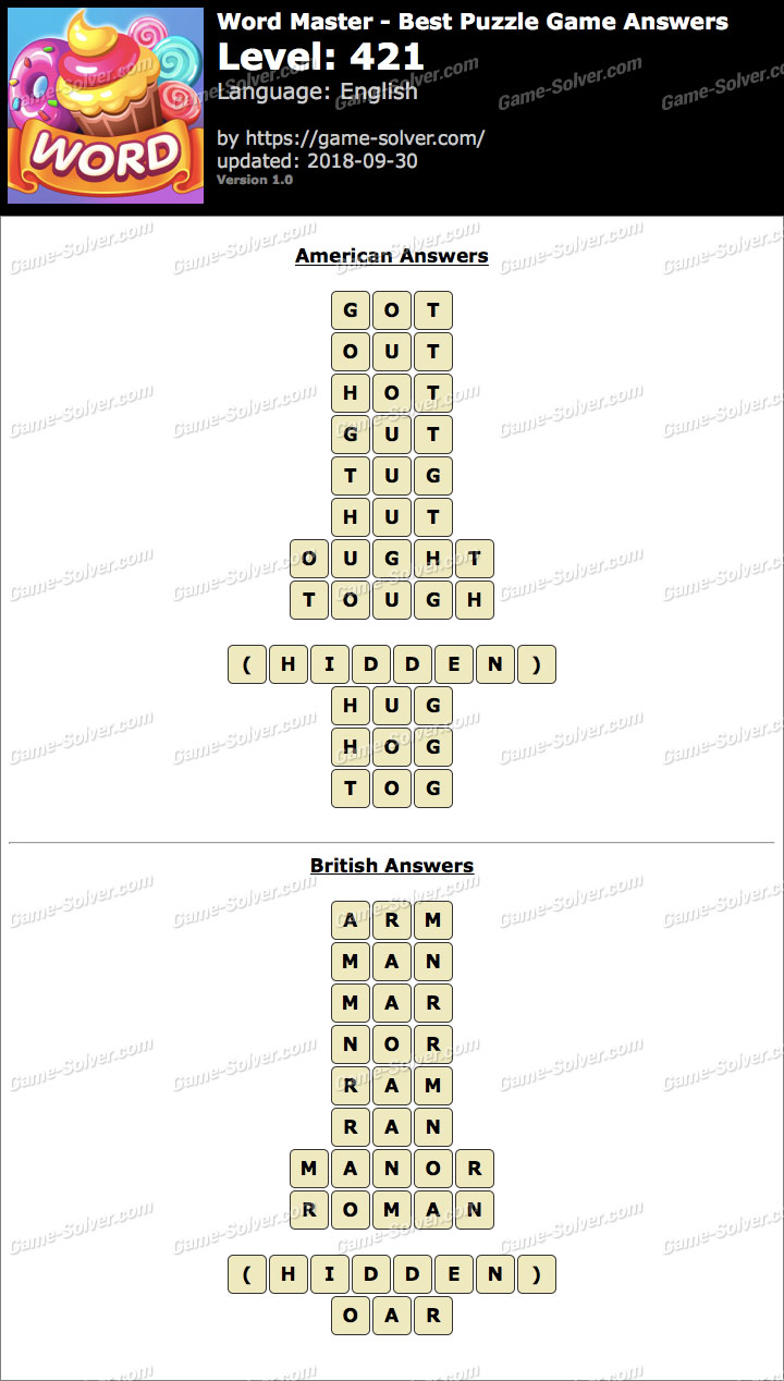 Word Master-Best Puzzle Game Level 421 Answers