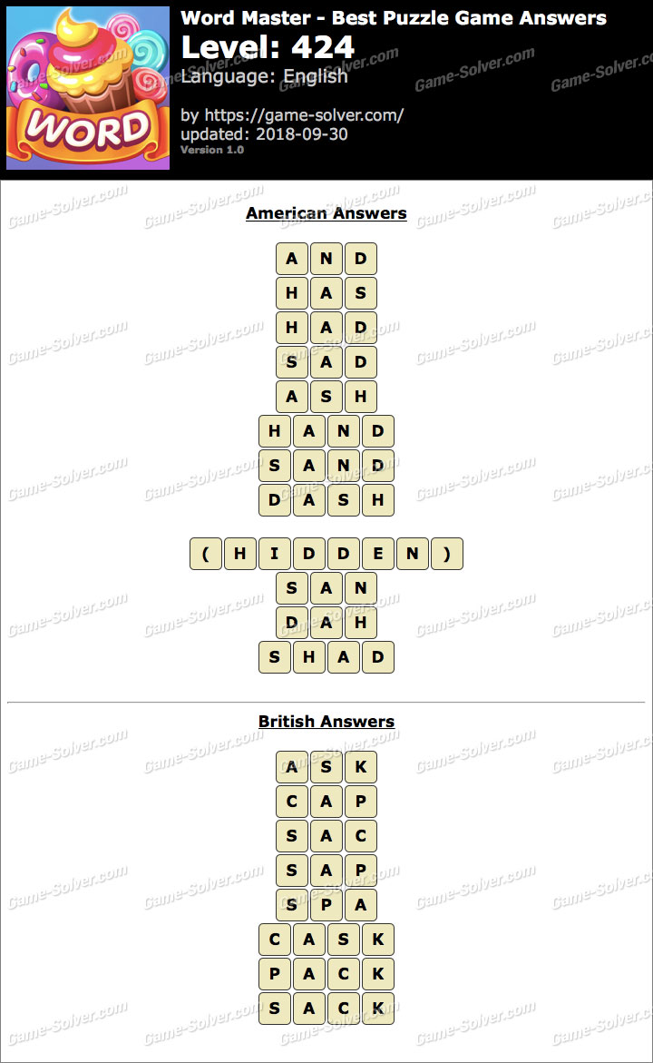 Word Master-Best Puzzle Game Level 424 Answers