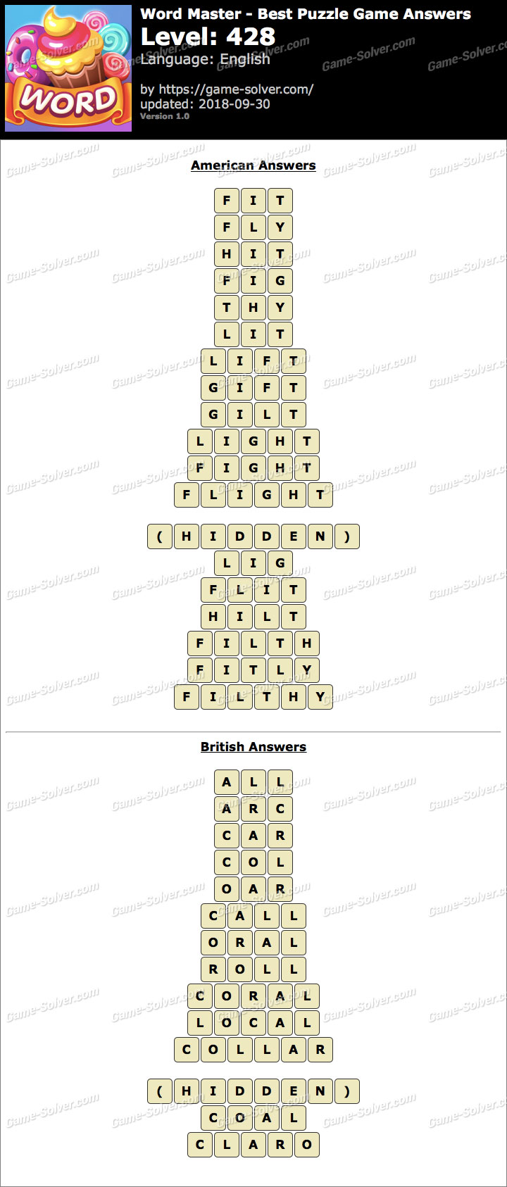 Word Master-Best Puzzle Game Level 428 Answers