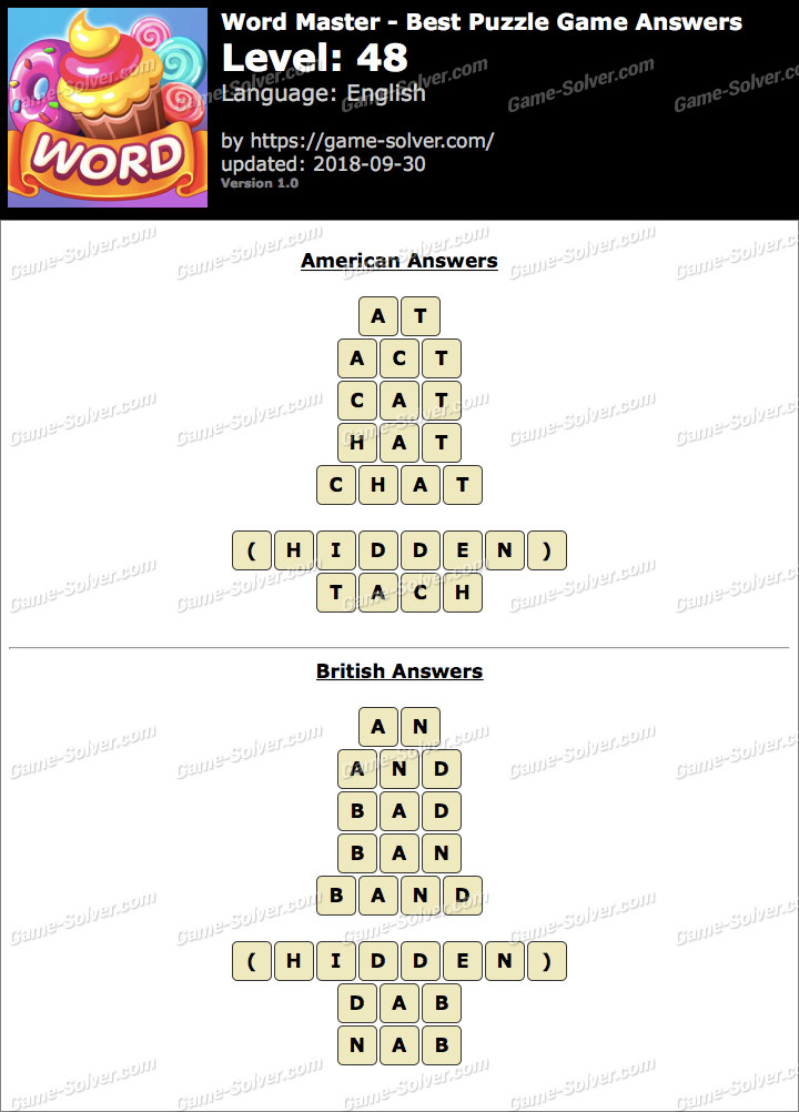 Word Master-Best Puzzle Game Level 48 Answers