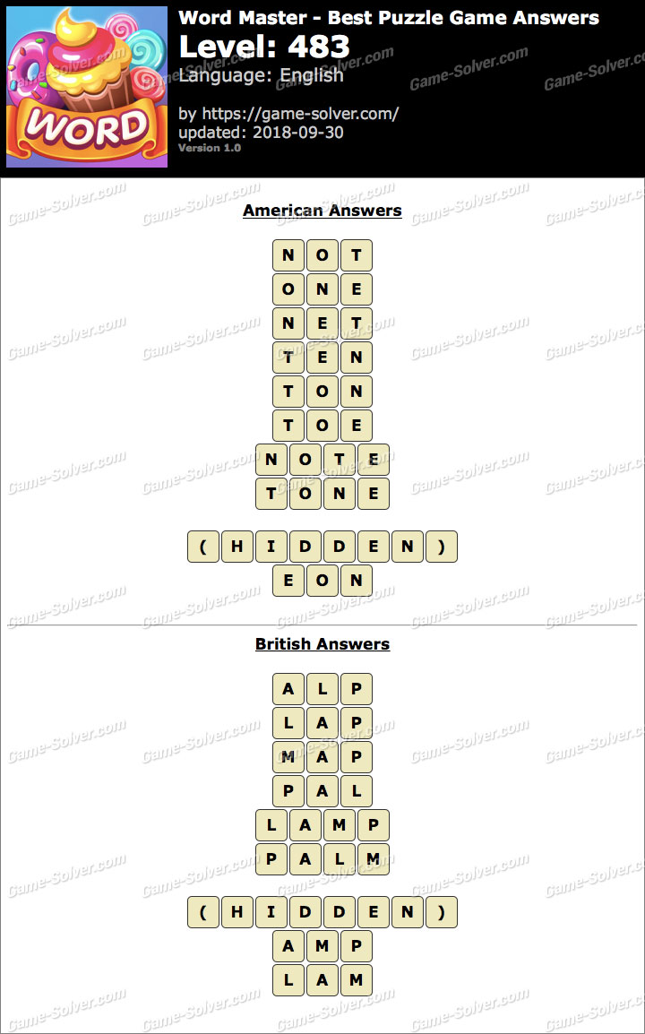 Word Master-Best Puzzle Game Level 483 Answers