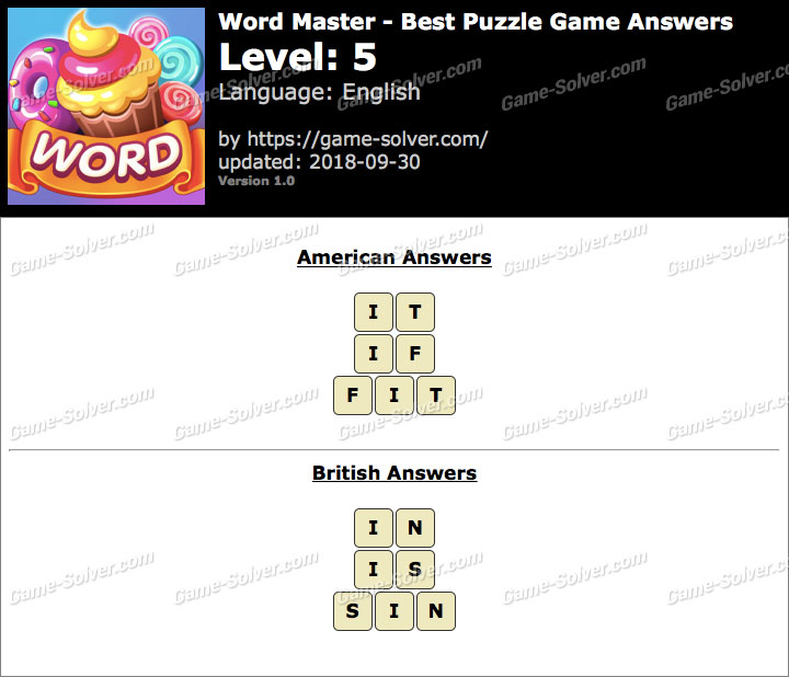 Word Master-Best Puzzle Game Level 5 Answers