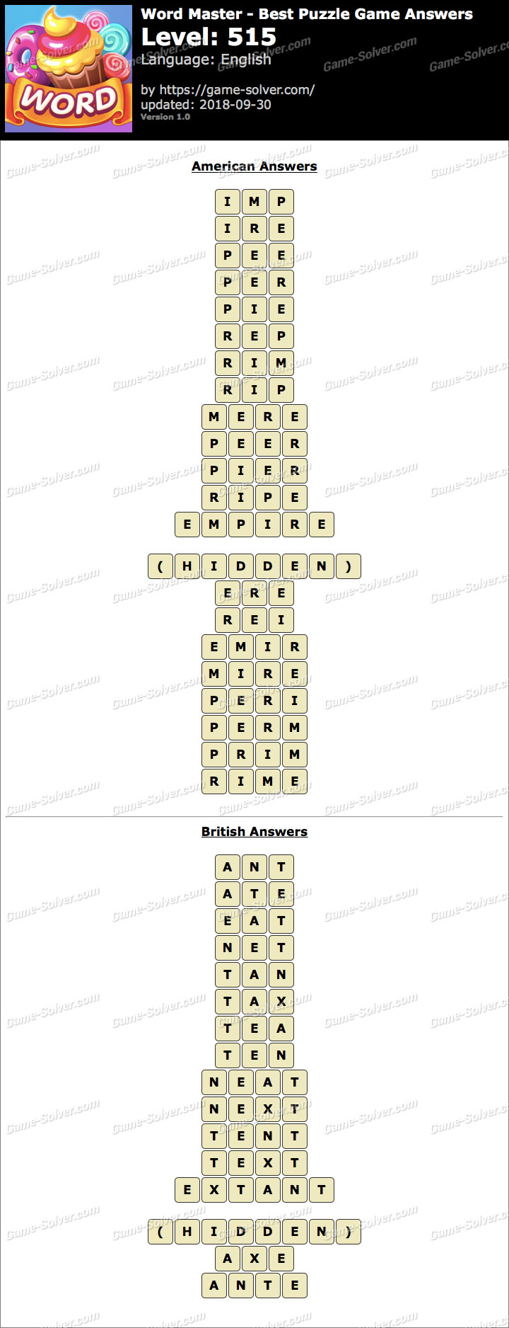 Word Master-Best Puzzle Game Level 515 Answers