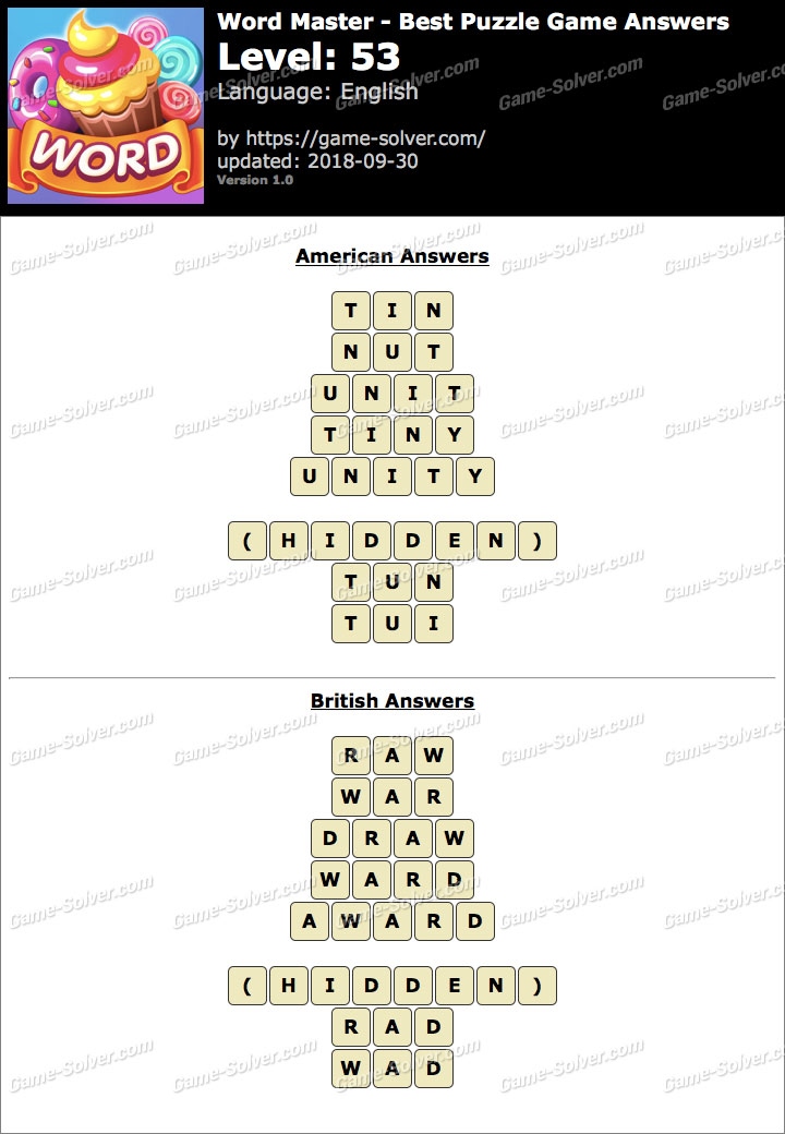 Word Master-Best Puzzle Game Level 53 Answers