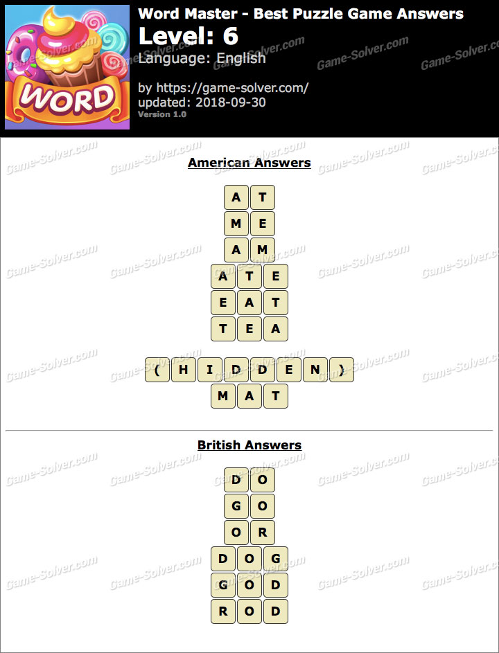 Word Master-Best Puzzle Game Level 6 Answers