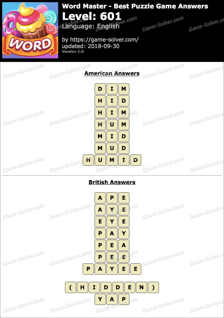 Word Master-Best Puzzle Game Level 601 Answers