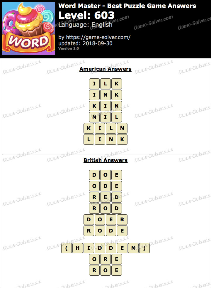 Word Master-Best Puzzle Game Level 603 Answers