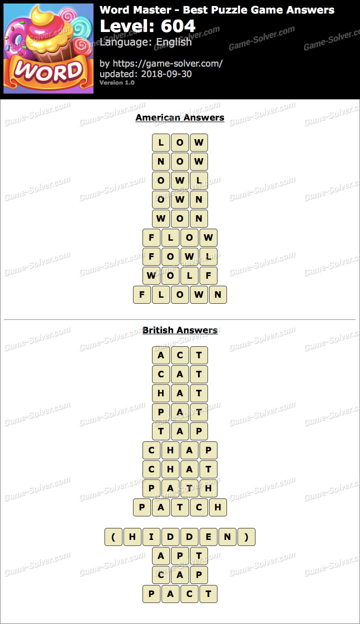 Word Master-Best Puzzle Game Level 604 Answers