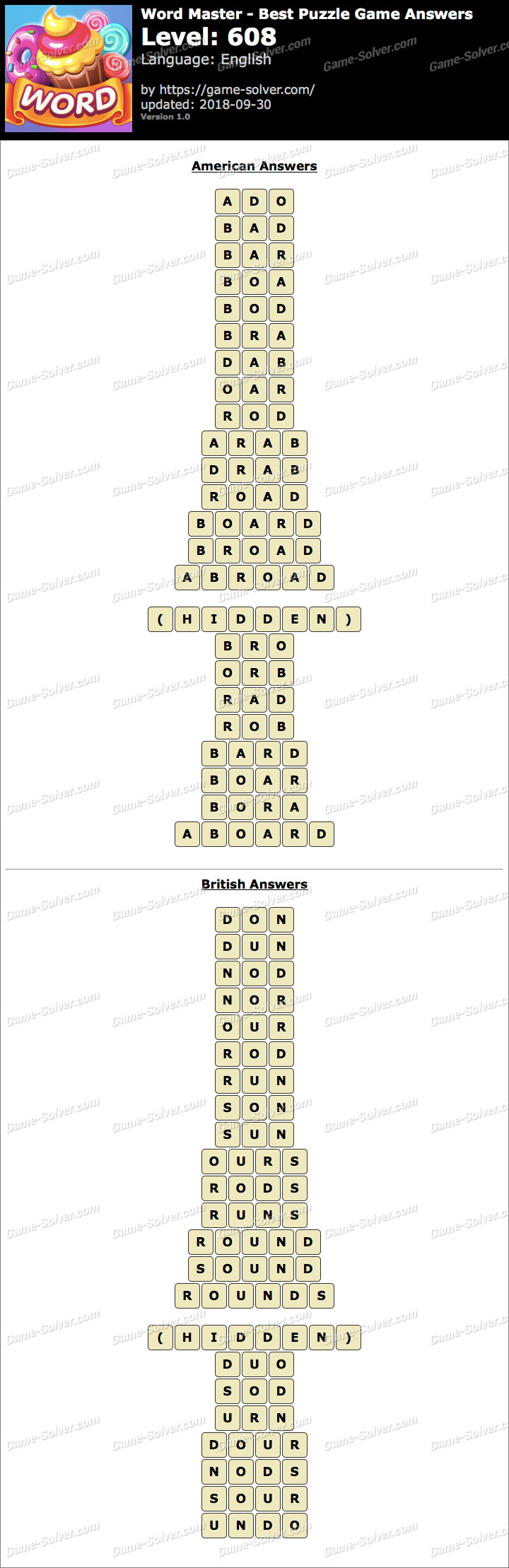 Word Master-Best Puzzle Game Level 608 Answers