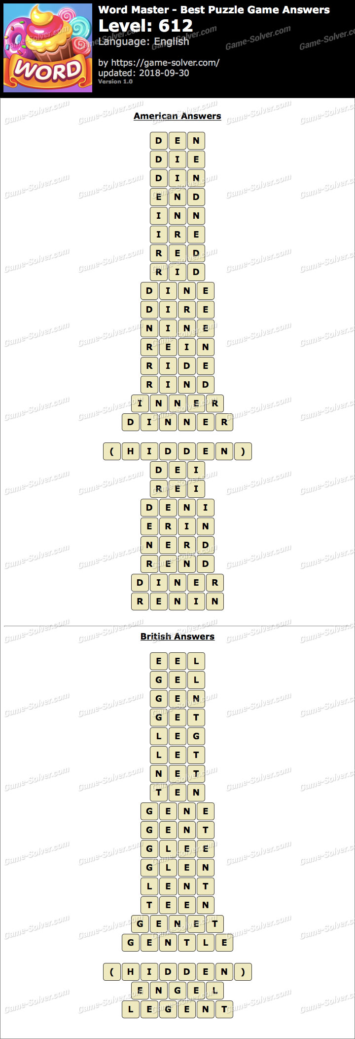 Word Master-Best Puzzle Game Level 612 Answers
