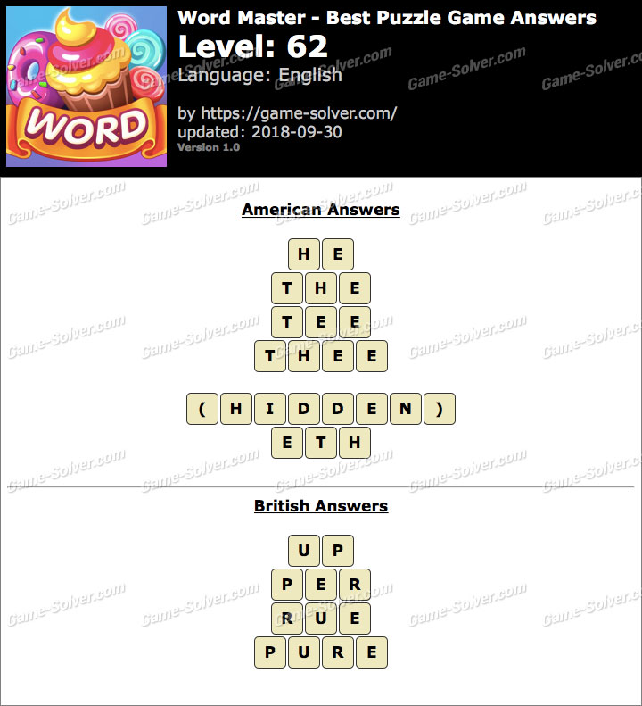 Word Master-Best Puzzle Game Level 62 Answers