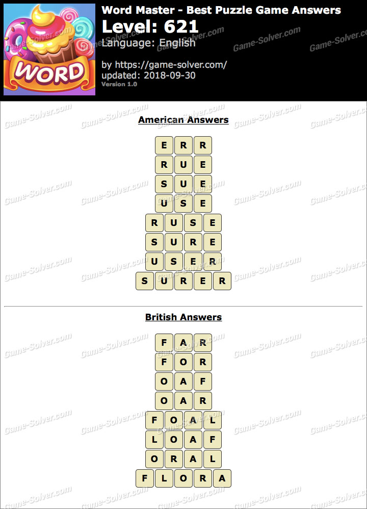 Word Master-Best Puzzle Game Level 621 Answers