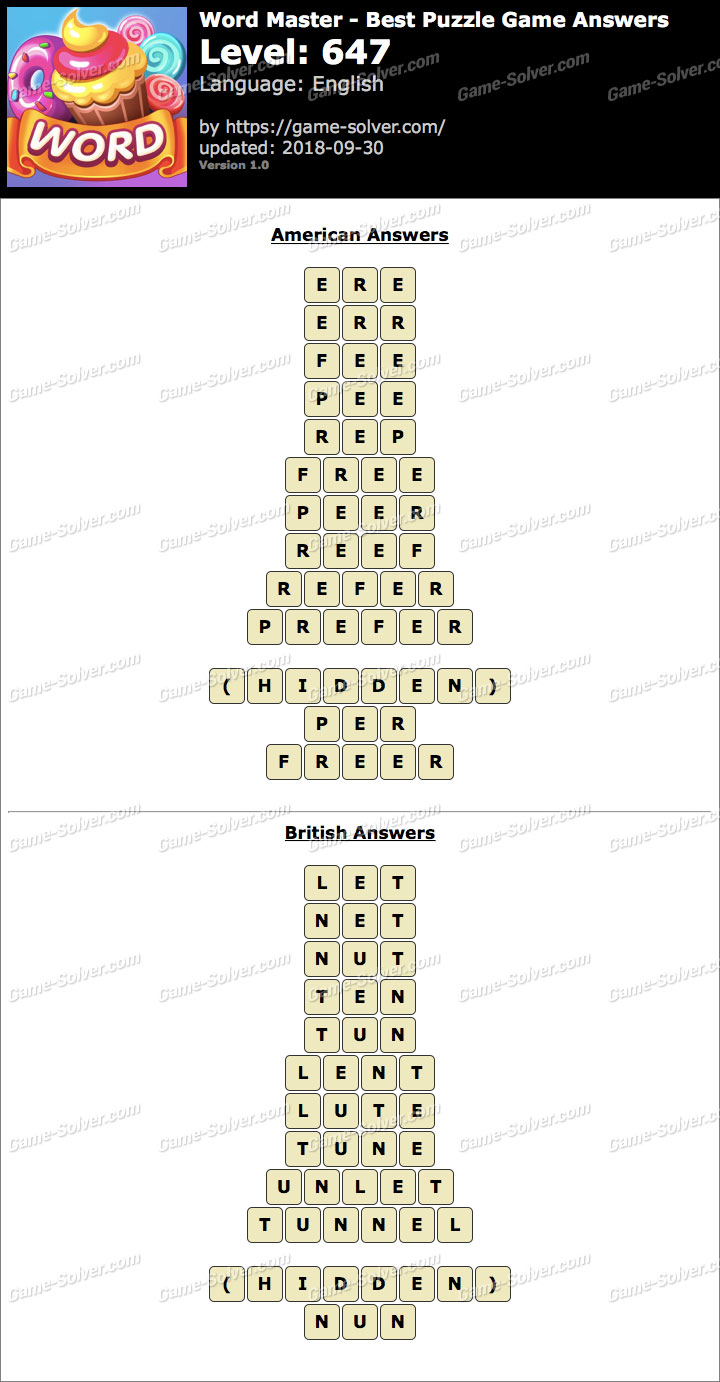 Word Master-Best Puzzle Game Level 647 Answers