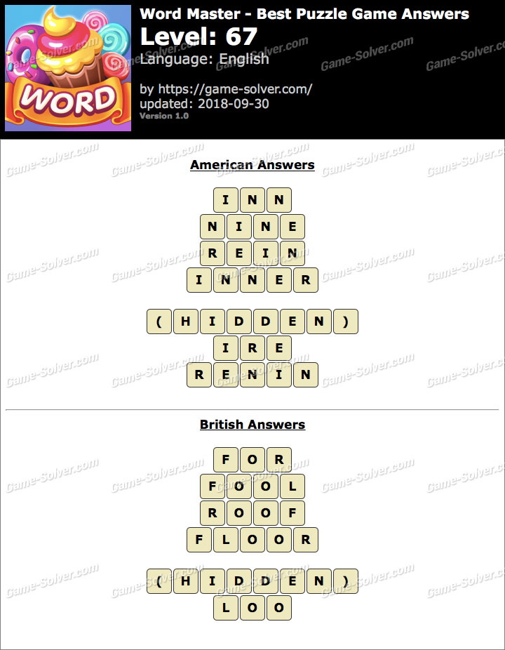 Word Master-Best Puzzle Game Level 67 Answers